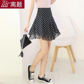 Dotted A-line Chiffon Skirt
