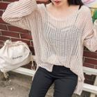 Round-neck Long-sleeve Open-knit Top