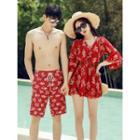Couple Matching Floral Swim Shorts / Bikini / Cover Up / Set