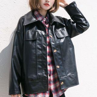 Faux Leather Button Jacket Black - M