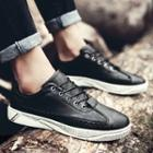 Platform Faux-leather Lace-up Sneakers