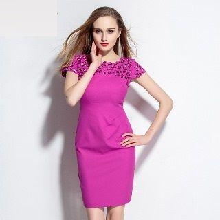 Short-sleeve Cutout Embroidered Dress