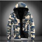 Couple Matching Camo Zip Hooded Padded Jacket