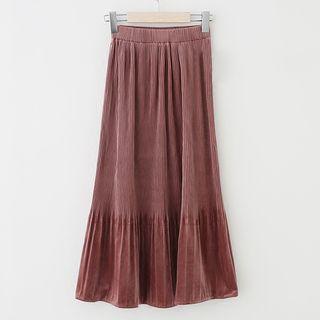 Accordion Velvet Midi Skirt