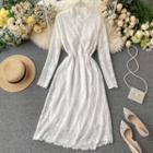 Mock-turtleneck Long-sleeve A-line Midi Lace Dress