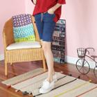 Drawstring-waist Slim-fit Denim Shorts