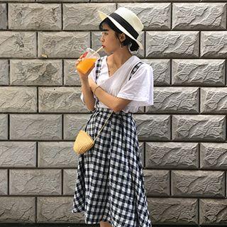 Plaid A-line Jumper Skirt