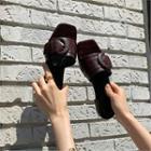 Belted-detail Croc-grain Slide Sandals