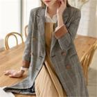 Contrast-trim Plaid Long Jacket