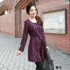 Grid Long-sleeved Dress