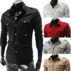 Long-sleeve Epaulette Detail Shirt