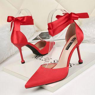 Bow Accent Pointed High Heel Sandals