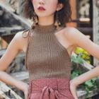 Halter Knit Top As Shown In Figure - One Size