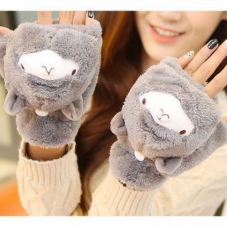 Llama Chenille Fingerless Gloves