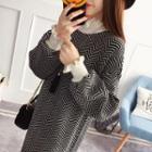 Mock-neck Fringed Hem Long-sleeve Knit Dress