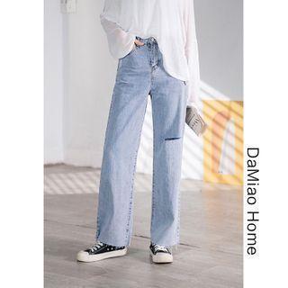 Cutout High-waist Wide Jeans