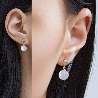 Rhinestone Star Cat Eye Stone Dangle Earring Gold - One Size