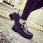 Block Heel Buckled Loafers