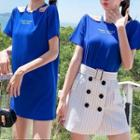 Set: Striped Buttoned A-line Skirt + Lettering Short Sleeve Cut Out Shoulder T-shirt