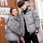 Couple Matching Patched Hooded Padded Jacket