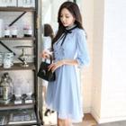 3/4-sleeve Mock Neck Frilled Dress