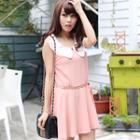 Sleeveless Contrast-collar Dress
