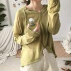 Plain Hooded Long-sleeve Knit Top