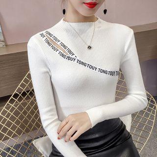 Cutout Letter Trim Knit Top