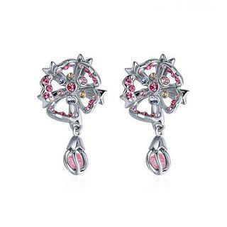 Swarovski Element Crystal Cherry Blossom Drop Earrings