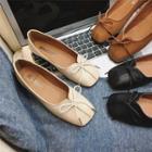 Bow Faux-leather Square-toe Flats