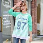 Number Stripe Raglan Long-sleeve T-shirt
