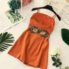 Spaghetti Strap Floral Embroidery Mini Dress