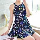 Cutout Back Printed Swimdress