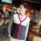 Contrast-trim Panel Cardigan