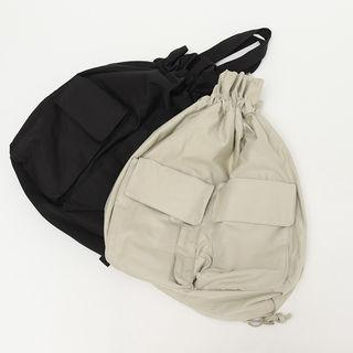 Flap-pocket Drawcord Backpack
