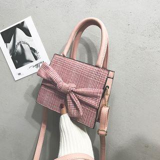 Plaid Bow Accent Handbag
