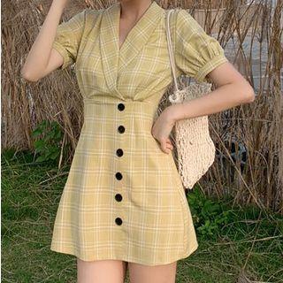 Plaid V-neck Mini Dress