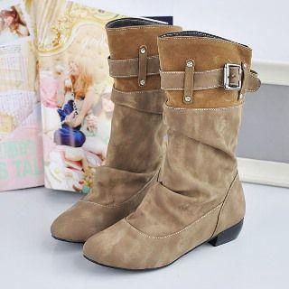 Low-heel Buckle Short Boots