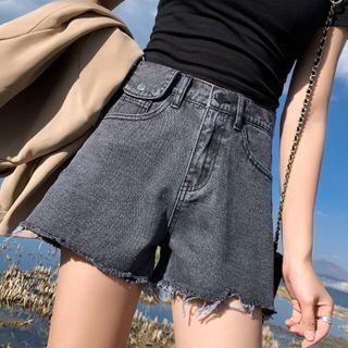Washed Wide Leg Ripped Denim Shorts