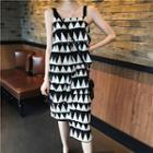 Printed Sleeveless Midi Dress Black - One Size