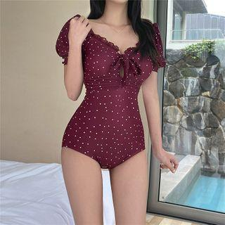 Dotted Puff-sleeve Swimsuit