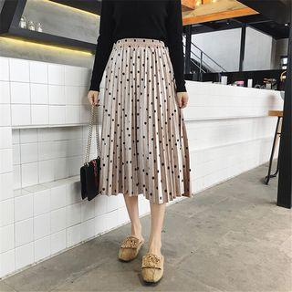 Dotted Plated Midi Skirt