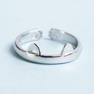 Cat 925 Sterling Silver Ring Silver - One Size