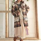 Hooded Plaid Tweed Coat
