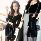 Zip-front Long Sleeve Mini Dress