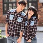 Couple Long-sleeve Plaid Shirt