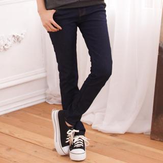 Brushed Fleece-lining Elastic-waist Skinny Jeans