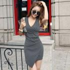 Sleeveless Pinstriped Sheath Dress