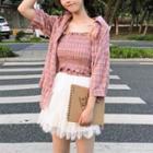 Elbow-sleeve Plaid Shirt / Mock Two Piece Strappy Dress