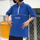 Short-sleeve Lettering Couple Matching Zip Polo Shirt